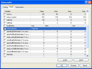 Окно настроек Universal EA для работы с индикатором Triple-MA